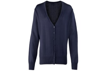 Premier Womens/Ladies Button Through Long Sleeve V-neck Knitted Cardigan (Navy) (16)