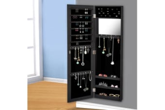 Wall Mounted Mirror Jewellery Cabinet Black