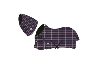JHL Lightweight Plus Turnout Rug With Neck (Navy/Burgundy/White) (6 ft)