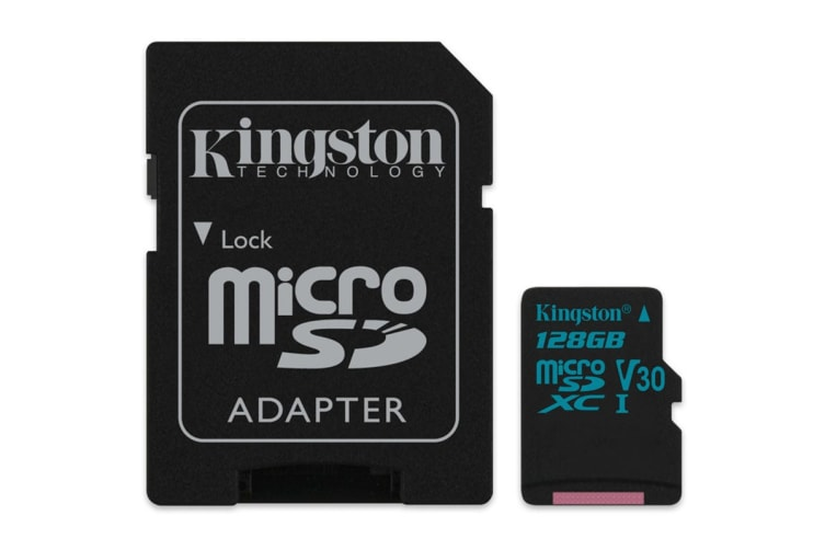 Kingston 128GB microSDXC Canvas Go 90Mb/s U3 UHS-I V30 Card with SD Adapter