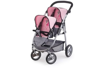 Bayer Twin Tandem Doll Pram in Pink and Grey