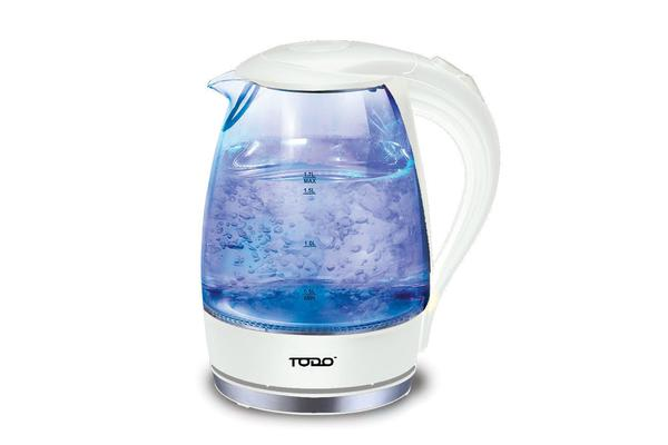 TODO 1.7L Glass Cordless Kettle 2200W Blue Led Light Kitchen Water Jug White