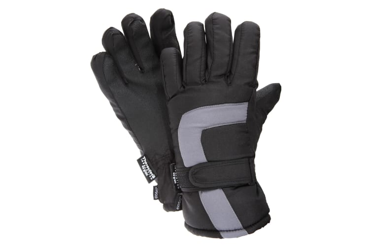 FLOSO Childrens/Kids Padded Water Resistant Thinsulate Thermal Winter/Ski Gloves (3M 40g) (Black/Grey) (12-13 years)