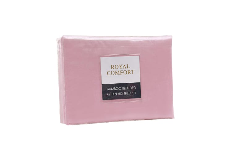 Royal Comfort Bamboo Blended Sheet & Pillowcases Set 1000TC Ultra Soft Bedding - King - Blush
