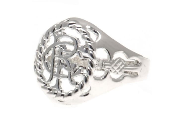 Rangers FC Medium Silver Plated Crest Ring (Silver) (One Size)