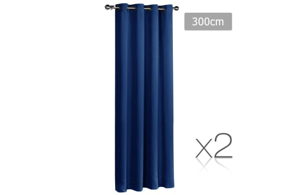 Set of 2 ArtQueen 3 Pass Eyelet Blockout Curtain (Navy) 300cm
