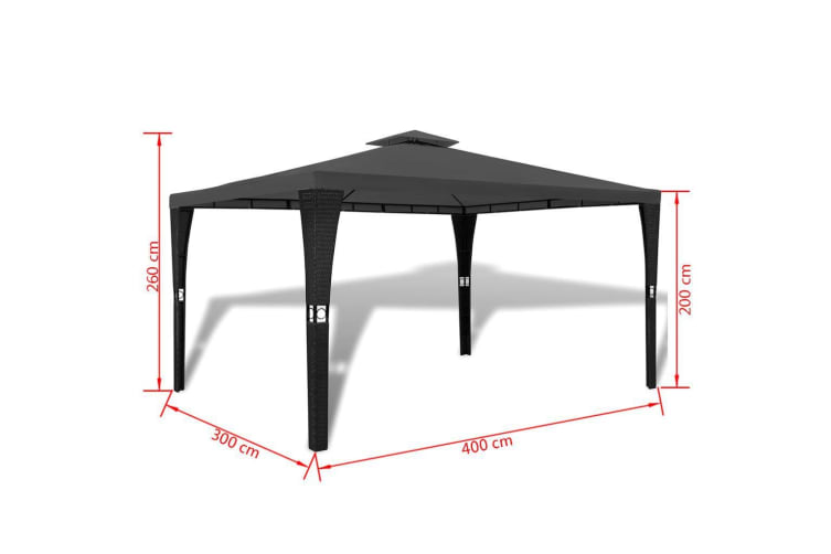 vidaXL Poly Rattan Gazebo with Dark Grey Roof 3 x 4 m