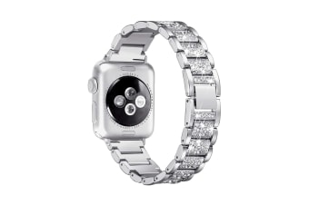 Select Mall Fashion Three Beads Shiny Strap Stainless Steel Rust Steel Strap for Apple Watch5 4 3 2 1-Silver 38mm