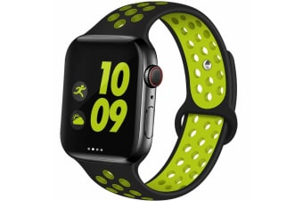For Apple Watch Band Series 5 4 3 2 Sport Silicone iWatch Strap Band Wristband 42mm/44mm-Black Yellow