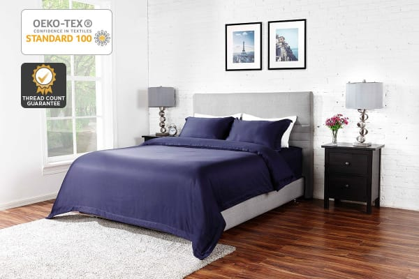 Ovela 1000TC Cotton Rich Luxury Quilt Cover Set (King, Midnight Blue)