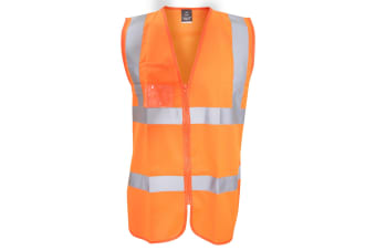 Result Core Mens Zip Through Hi Vis Safety Tabard/Vest (Fluorescent Orange) (L/XL)