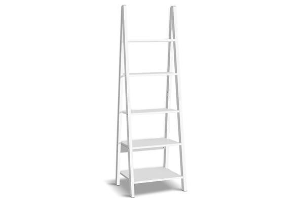 5 Tier Ladder Wall Shelf White