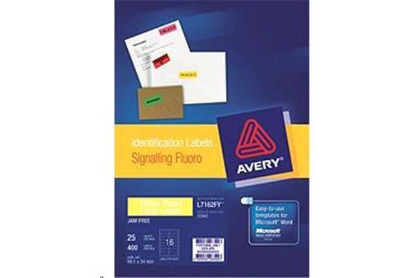 AVERY LABELS YELLOW 16 UP 25 SHEETS 99.1X34MM FLUORO L7162-25FY