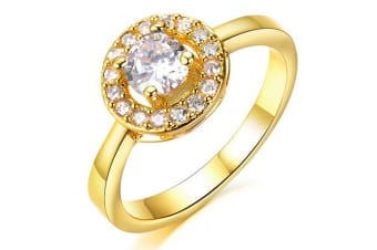 Bullion Gold Cz Yellow Gold Ring-Gold/Clear Size US 7