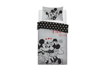 Minnie & Mickey Love U To The Moon Panel Single Duvet Set (Grey) (Single)