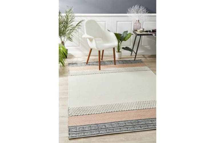 Ryder Peach & Denim Wool Textured Rug 280x190cm