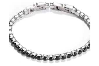 Select Mall Adjustable Detachable Titanium Steel Double Buckle Zircon BraceletStainless Steel Simple Tennis Chain for Women-Black