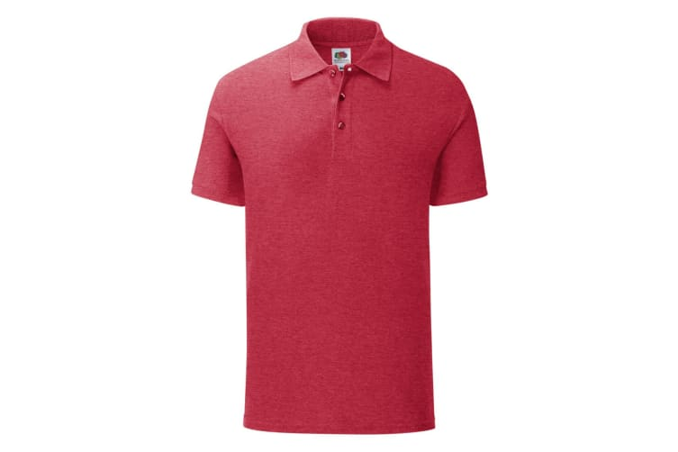 Fruit Of The Loom Mens Iconic Polo Shirt (Heather Red) (M)