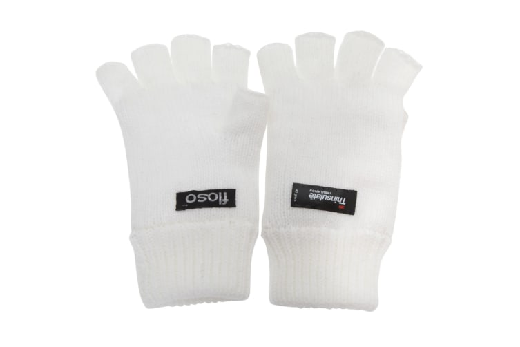 FLOSO Ladies/Womens Thinsulate Thermal Fingerless Winter Gloves (3M 40g) (Snow White) (One size)