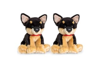 2PK Keel 35cm Kids/Children Cuddles Chihuahua Dog Plush Soft Stuffed Toy BLK