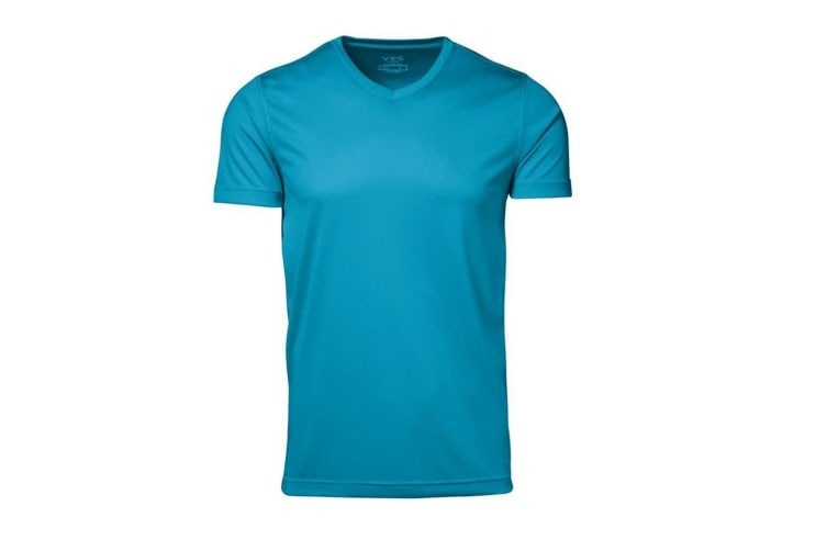 ID Mens Yes Functional Active Short Sleeve Fitted V-Neck T-shirt (Cyan) (M)