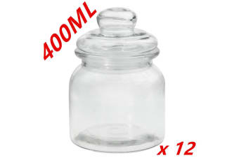 12 x Clear 400ml Glass Jars Multi-purpose Storage Jar Glass with Lid Candle Candy