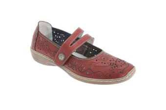 Boulevard Womens/Ladies Touch Fastening Perforated Bar Casual Leather Shoes (Red) (8 UK)
