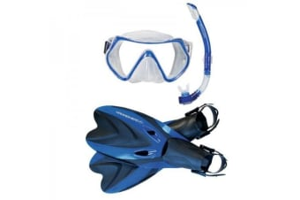 Hammerhead Abyss Mask, Snorkel and Fin Set Blue Small