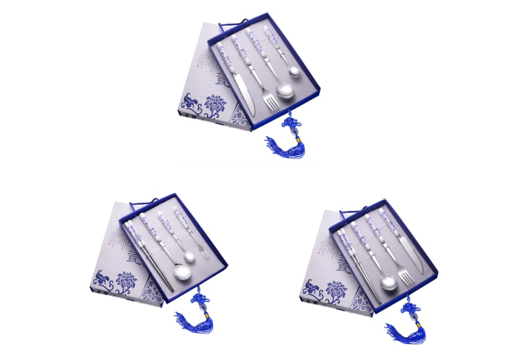 Stainless Steel Flatware Set,Chinese Blue And White Porcelain Tableware Set - 3