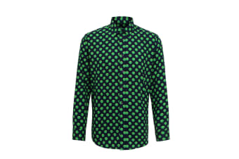 Christmas Shop Mens Long Sleeved Santa Claus/Sprout Patterned Shirt (Sprout/ Navy)