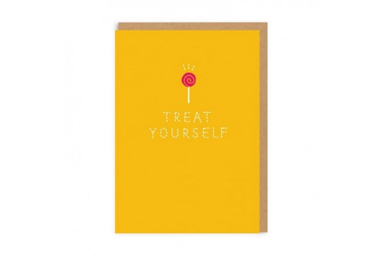 Ohh Deer Treat Yourself Sew Greeting Card (Yellow) (One Size)