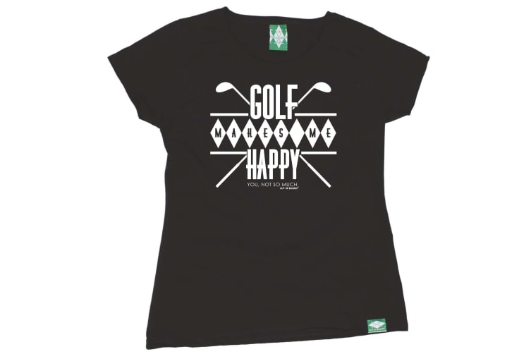 Out Of Bounds Golf Tee - Golf Makes Me Happy - (X-Large Black Womens T Shirt)