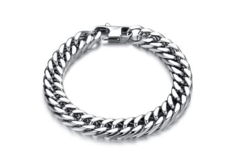 Curb Chain Stainless Steel Bracelet 12mm-White Gold