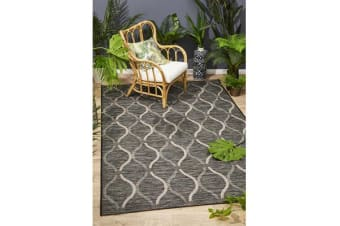 Wyatt Black & Natural Coastal Geometric Runner Rug 300x80cm