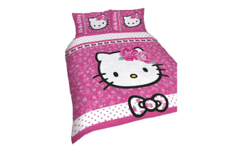 Hello Kitty Childrens Girls Sommerwind Reversible Duvet Cover Bedding Set (Pink) (Double)