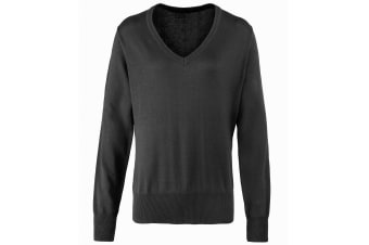 Premier Womens/Ladies V-Neck Knitted Sweater / Top (Charcoal) (22)