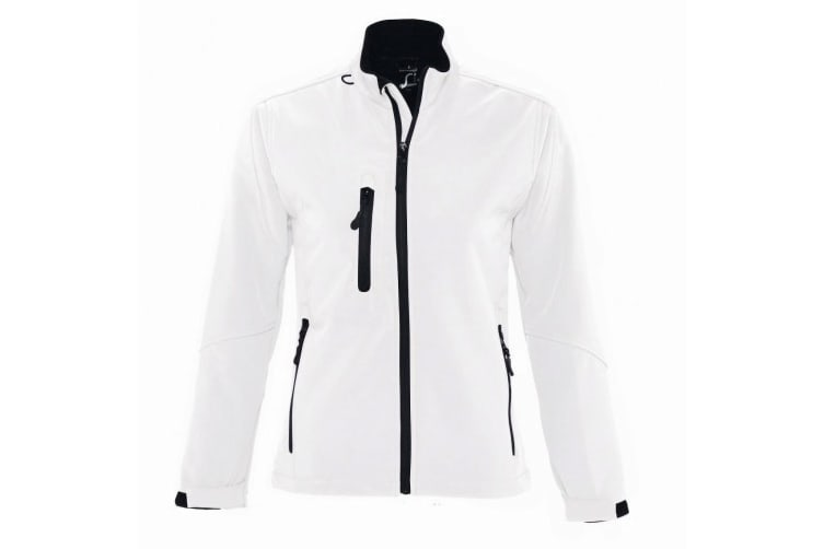 SOLS Womens/Ladies Roxy Soft Shell Jacket (Breathable  Windproof And Water Resistant) (White) (M)