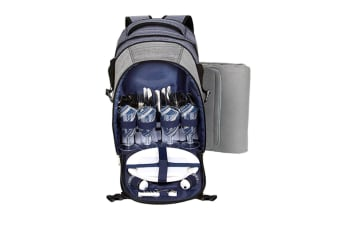 Thermos 4 Person Picnic Backpack With Blanket- Grey And Blue