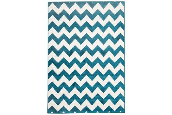 Indoor Outdoor Zig Zag Rug Peacock Blue 330x240cm