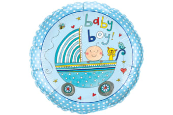 Qualatex 18 Inch Baby Boy/Girl Pram Design Circular Foil Balloon (Blue) (One Size)