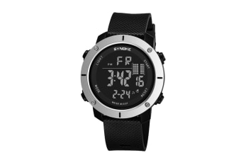 Outdoor Multifunctional Student Watch Men'S Sports Electronic Watch Black Silver