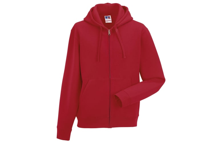 Russell Mens Authentic Full Zip Hooded Sweatshirt / Hoodie (Classic Red) (L)