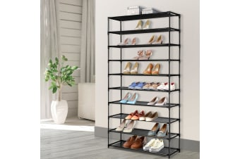 50 Pairs 10 Tier Shoe Rack Shelf Holder Stackable Portable Metal Cabinet Black