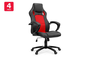 4 Pack Ergolux RX8 Deluxe Gaming Office Chair (Red, Racing Series)