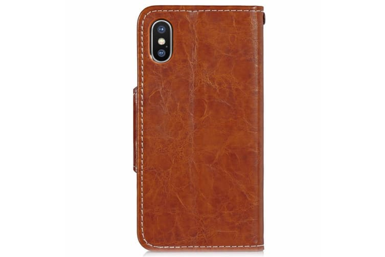 For iPhone XS Max Case Brown Wild Horse Texture Business Folio Leather Cover