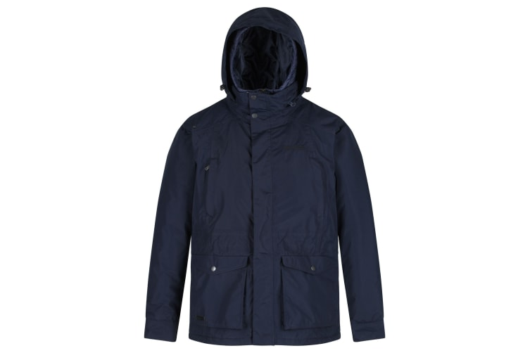 Regatta Mens Rainer Waterproof Concealed Hood Insulated Jacket (Navy) (XL)
