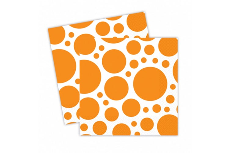 Amscan Dotted Square Luncheon Napkins (White/Orange) (One Size)