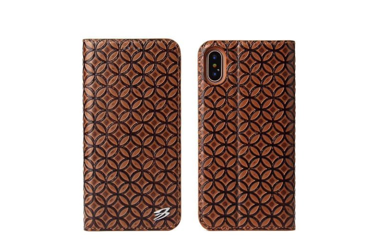 For iPhone XS X Wallet Case Fierre Shann Copper Coin Genuine Leather Cover Brown