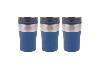 3PK Oasis 280ml Cafe Stainless Steel Insulated Travel Drink Cup Flask Navy Blue