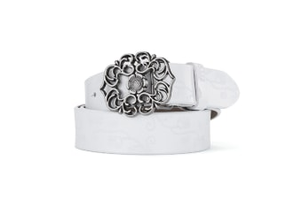 Women'S Leather Belt Carved Ladies Pure Retro Leather Belt White 110Cm